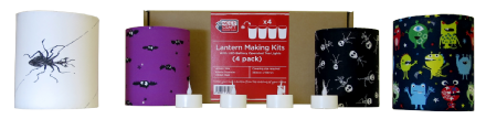 Halloween Lantern Making Kit  - 4 Pack  With  LED Tea Lights